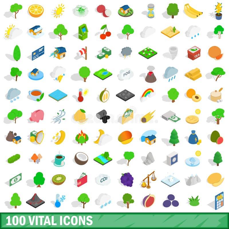 100 vital icons set, isometric 3d style royalty free illustration