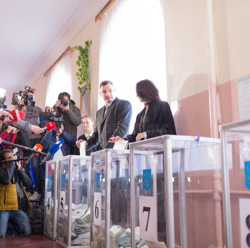 Vitali Klitschko表决在基辅, Uktraine 库存图片
