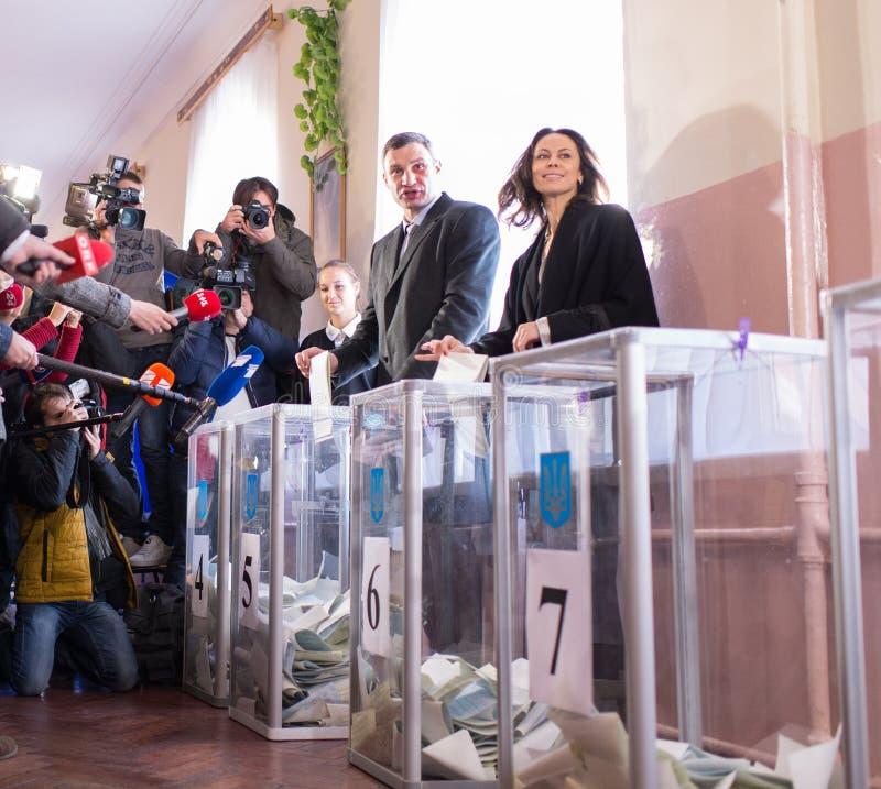 Vitali Klitschko表决在基辅, Uktraine 免版税库存图片