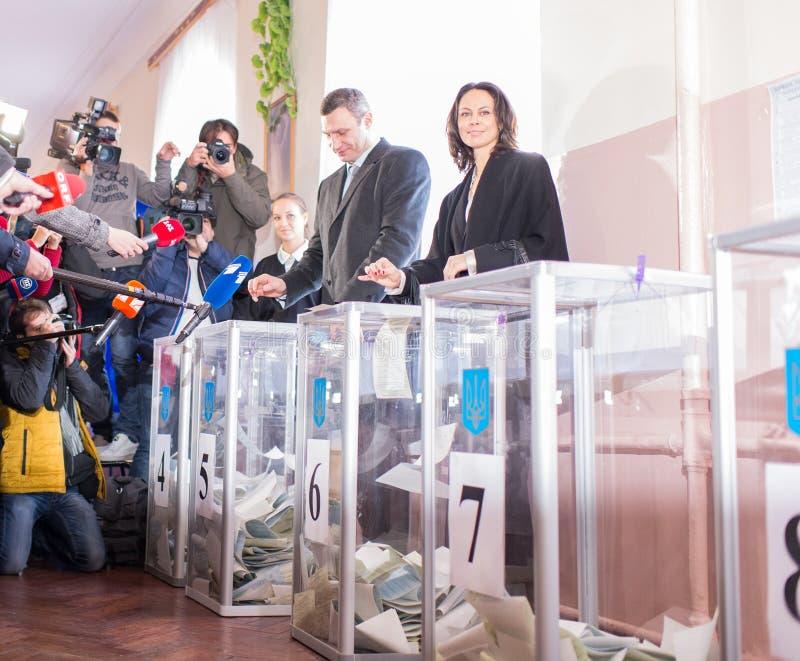 Vitali Klitschko-stem in Kiev, Uktraine stock foto's