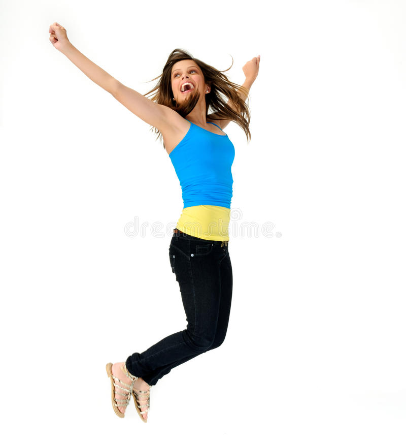 Download Vitality Jump Of Young Girl Stock Photo - Image: 21791648