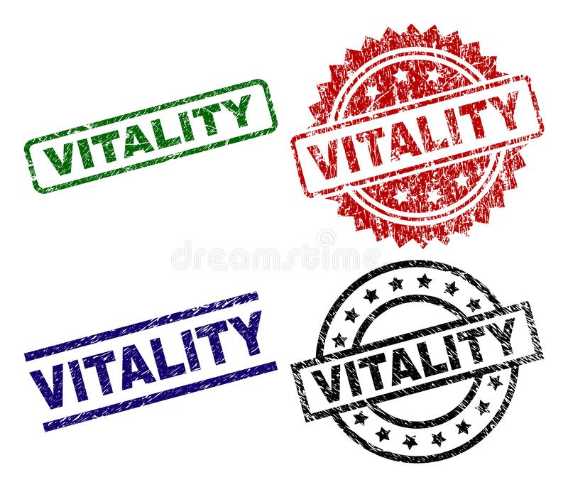 Scratched Textured VITALITY Seal Stamps royalty free illustration