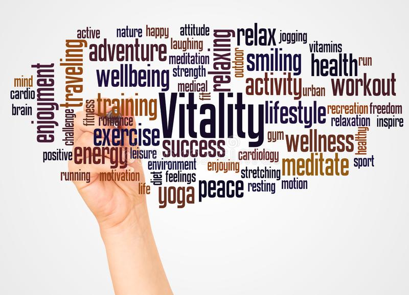 Vitality word cloud and hand with marker concept stock photos