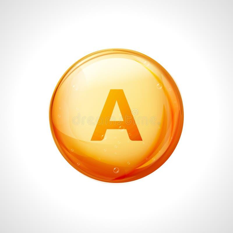 Free Vitamin A Pill Icon. Retinol Vitamin Nutrition Treatment. Medicine Health Care. Natural Supplement 3d Symbol Royalty Free Stock Image - 82876926