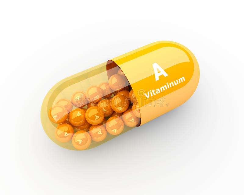 Vitamin- Akapsel, die auf Schreibtisch liegt stock abbildung