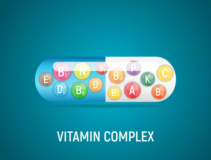 Vitamin and Antioxidant Complex. Vector Illustration. EPS10 royalty free illustration