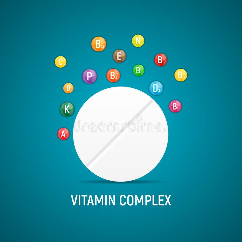 Vitamin and Antioxidant Complex. Vector Illustration. EPS10 vector illustration
