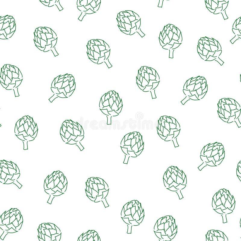 Vitamin artichoke doodle pattern for kitchen design. Seamless artichoke pattern. Vitamin doodle for kitchen design stock illustration