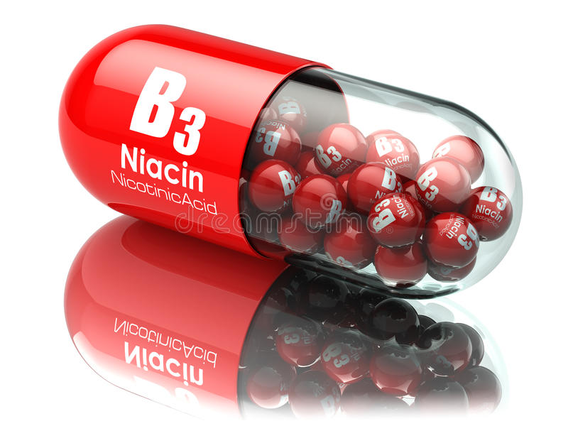 Vitamin B3 capsule. Pill with Niacin or nicotinic acid. Dietary. Supplements. 3d illustration stock illustration
