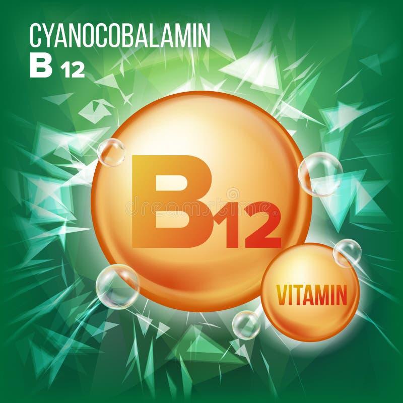 Vitamin B12 Cyanocobalamin Vector. Vitamin Gold Oil Pill Icon. Organic Vitamin Gold Pill Icon. For Beauty, Cosmetic. Heath Promo Ads Design. Vitamin Complex stock illustration
