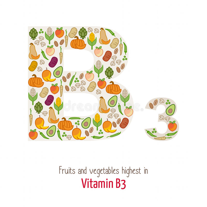 Vitamin B3. Fruits and vegetables highest in vitamin B3 composing B3 letter shape, nutrition and healthy eating concept stock illustration