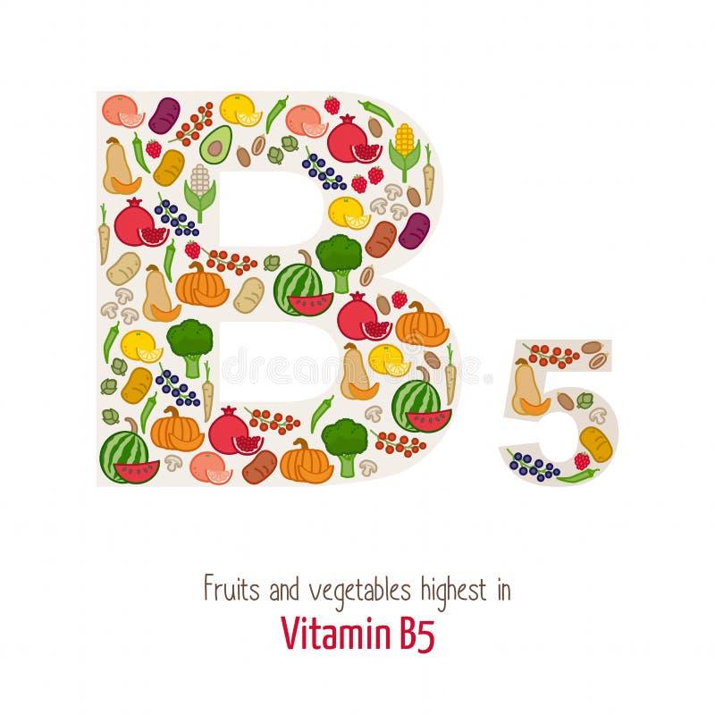 Vitamin B5 vector illustration