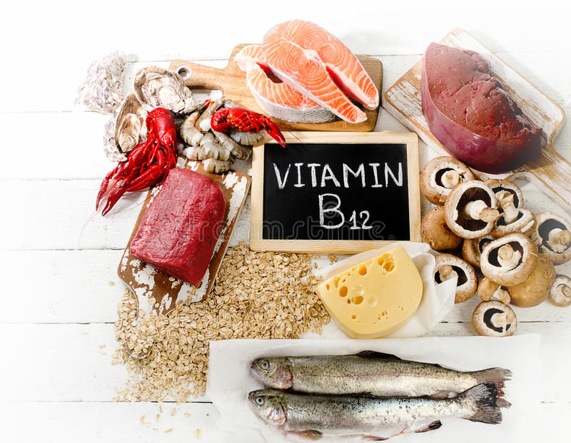 Vitamin B12. Sources of Vitamin B12 Cobalamin. Healthy eating. Top view royalty free stock photos