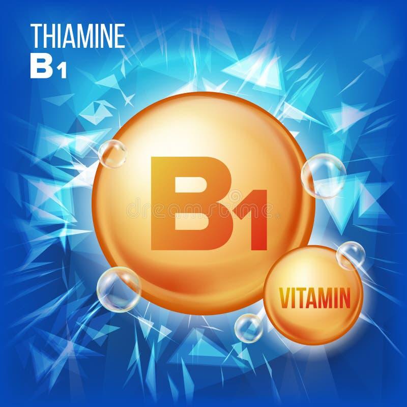Vitamin B1 Thiamine Vector. Vitamin Gold Oil Pill Icon. Organic Vitamin Gold Pill Icon. For Beauty, Cosmetic, Heath. Promo Ads Design. 3D Vitamin Complex royalty free illustration