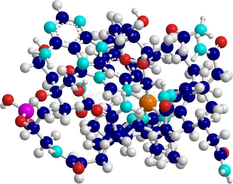Vitamin B12. Computer generated image of molecule of vitamin b12