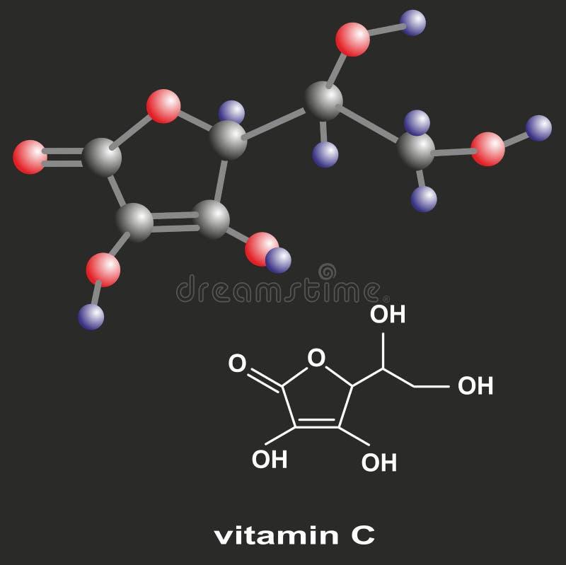 Vitamin C. 3D and flat models of vitamin C molecule stock illustration