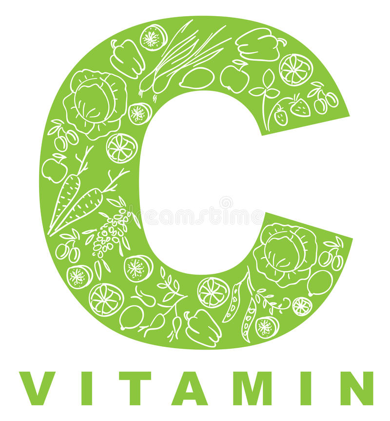 Vitamin C. The form C filled with meal stock illustration