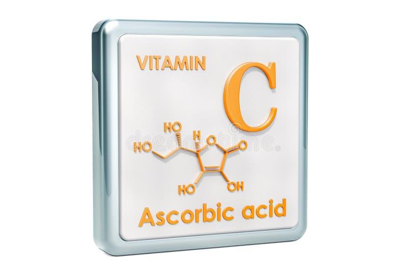 Vitamin C, askorbinsyra Symbol kemisk formel, molekylär stru vektor illustrationer