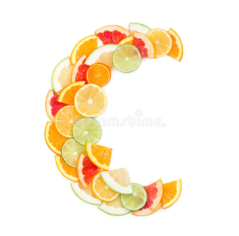 Vitamin C concept. (letter C made of citrus slices stock images