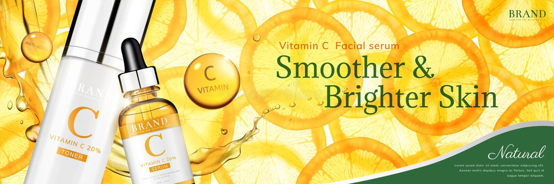 Vitamin C essence ads. Vitamin C essence banner ads with translucent sliced orange and droplet bottle, 3d illustration royalty free illustration