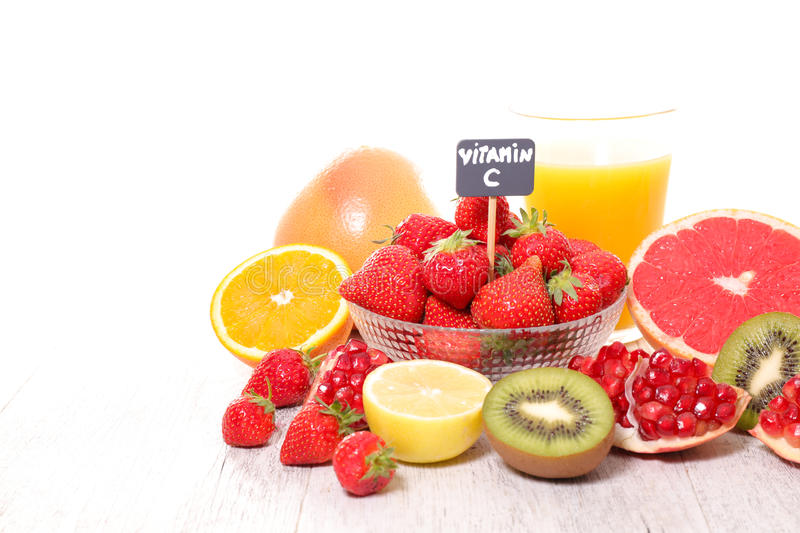 Vitamin c food. Assorted fresh vitamin C food stock photo