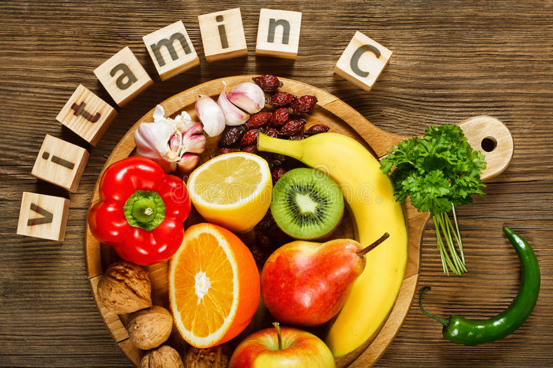 Vitamin C in fruits and vegetables stock image