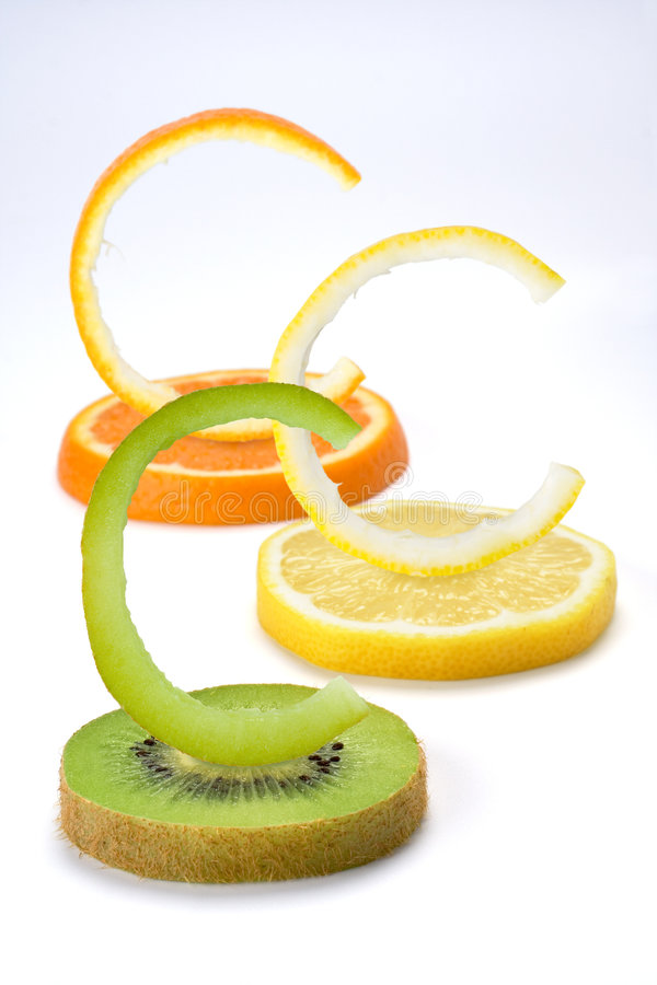 Vitamin C fruits vertical stock photo