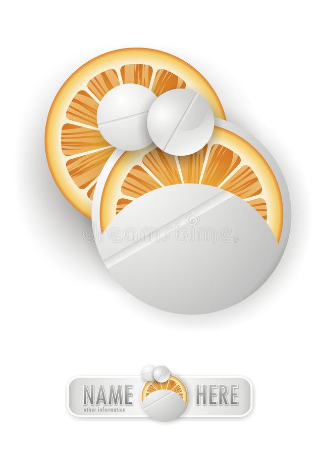 Vitamin C pill. With oranges and symbol royalty free illustration