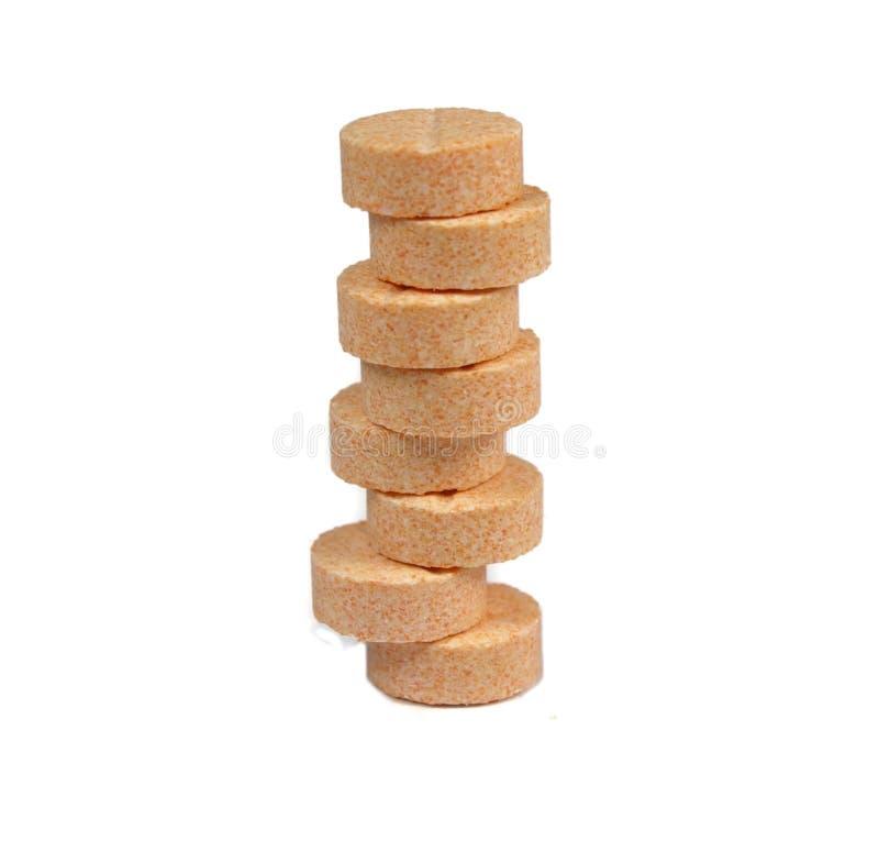 Vitamin C pills pile