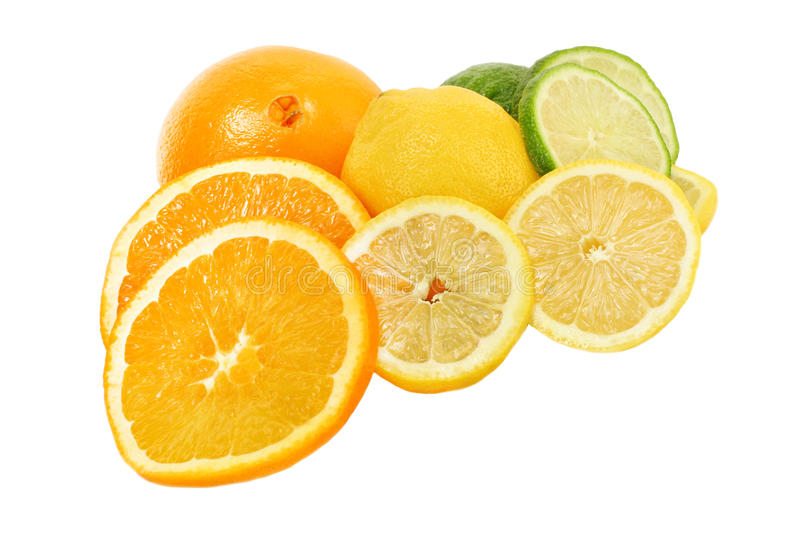 Vitamin C rich fresh citrus fruits royalty free stock photos