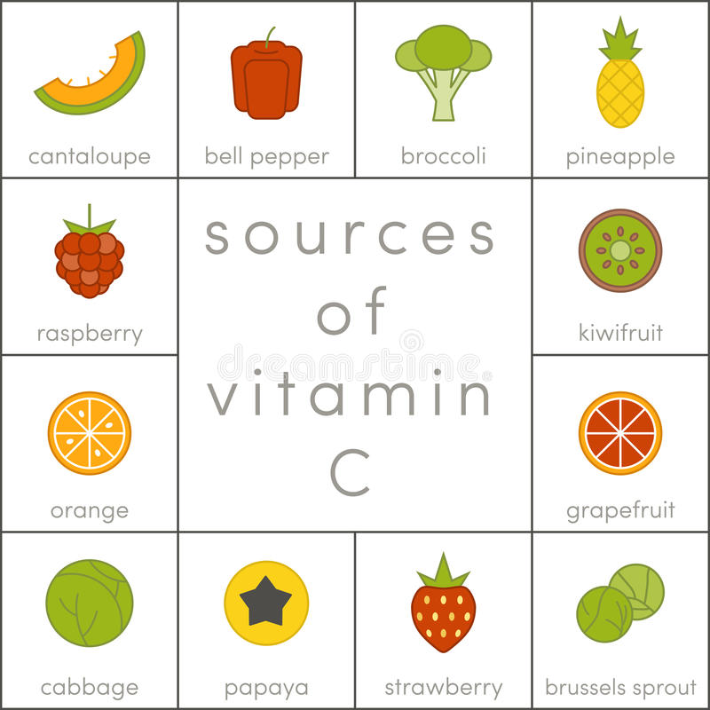 Vitamin C. Sources of vitamin C, elements of food for infographic vector illustration