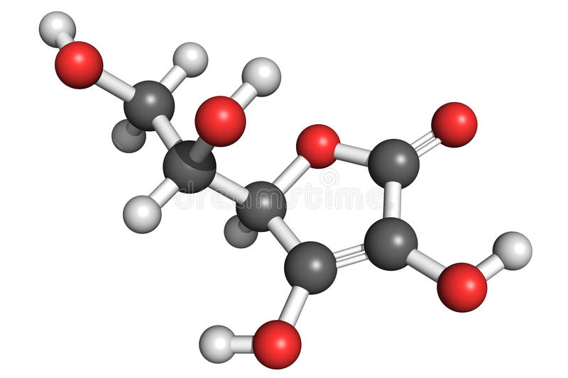 Vitamin C structure. Ball and stick model of L-ascorbic acid (vitamin C). Atoms are coloured according to convention (carbon-grey, hydrogen-white, oxygen-red) royalty free illustration
