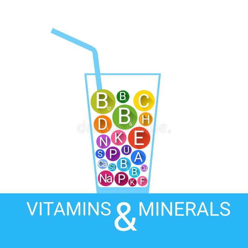 Vitamin-Cocktail-Glas-wesentliche chemische Element-Nährstoff-Mineralien lizenzfreie abbildung