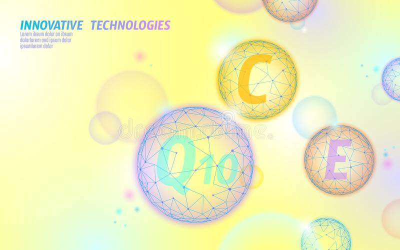Vitamin complex low poly sphere bubble. Health supplement skin care healthy eating anti-aging pharmacy banner template. 3D coenzyme Q10, C, E. Medicine science vector illustration