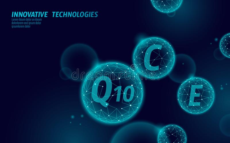 Vitamin complex low poly sphere bubble. Health supplement skin care healthy eating anti-aging pharmacy banner template. 3D coenzyme Q10, C, E. Medicine science stock illustration