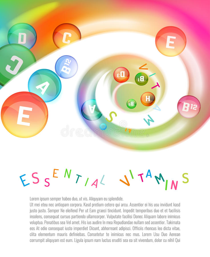 Vitamin Complex Swirl. Vitamin complex. Different vitamins in pills flying in a swirl. Vector illustration in bright rainbow colours. Beautiful template with vector illustration