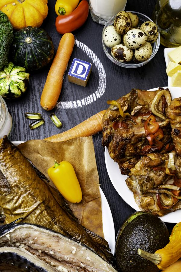 Vitamin D, das Nahrungsmitteldraufsicht enthält stockfotografie