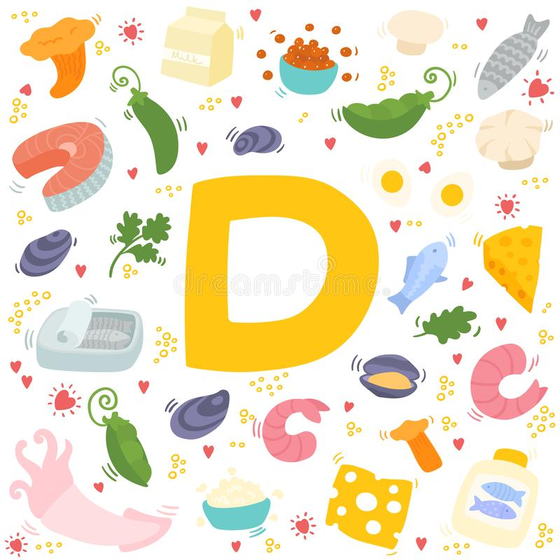 Vitamin D doodles. Hand drawn illustration of different food rich of vitamin D royalty free illustration