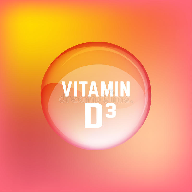 Vitamin D3 02 A. Vitamin D3 pill. Shining glossy circle droplet. Vector illustration in red, pink and bright yellow colours. Medical and pharmaceutical image stock illustration