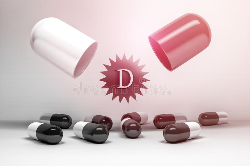 Vitamin D supplement. Opened large pill with small capsules on white background. 3d illustration stock illustration