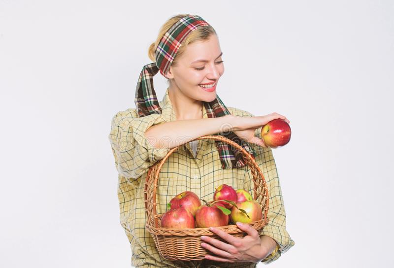 Vitamin and dieting food. organic and vegetarian. healthy teeth. orchard, gardener girl with apple basket. Happy woman. Eating apple. spring harvest. summer royalty free stock photography