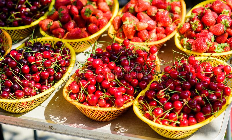 Vitamin and dieting. seasonal fruit. natural shopping. organic useful food. healthy lifestyle. farm market. summer berry royalty free stock images