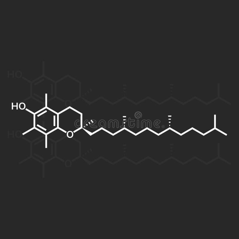 Vitamin E or alpha-tocopherol. Chemical formula vector illustration