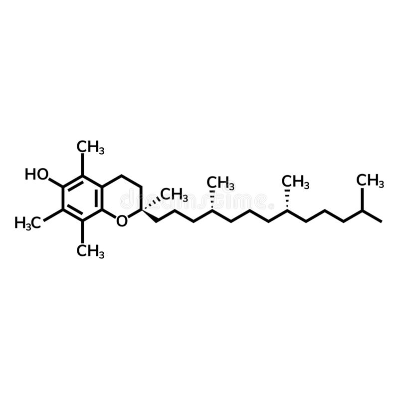 Vitamin E or alpha-tocopherol. Chemical formula royalty free illustration
