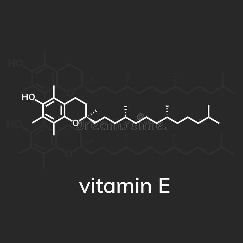 Vitamin E or alpha-tocopherol. Chemical formula stock illustration