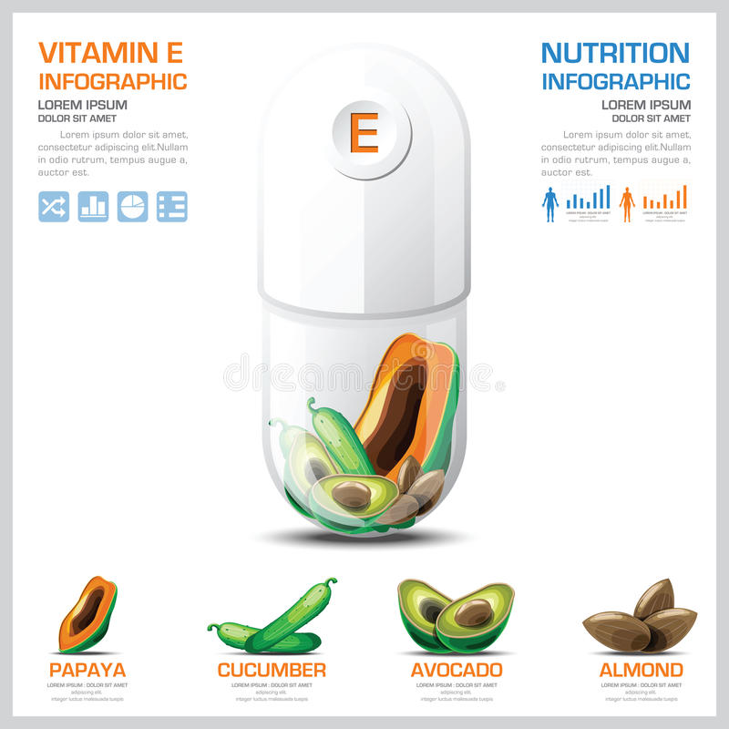 Vitamin E Chart Diagram Health And Medical Infographic. Design Template stock illustration