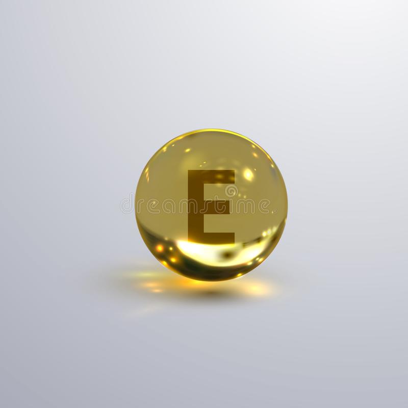 Vitamin E realistic icon. Golden shiny sphere or droplet with E sign. Vector illustration of medcine, nutrition or cosmetics supplement stock illustration