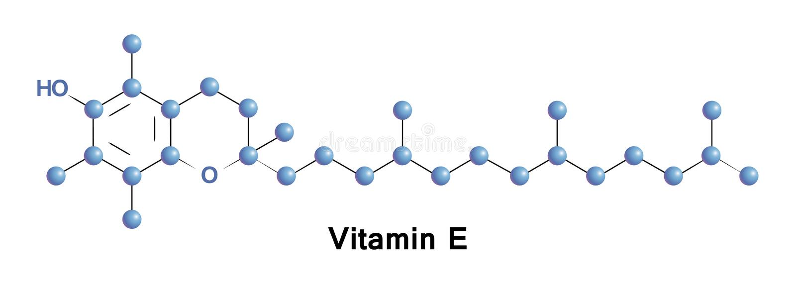 Vitamin E, tocopherol. Is a fat-soluble antioxidant, an enzymatic activity regulator, that effects on gene expression stock illustration
