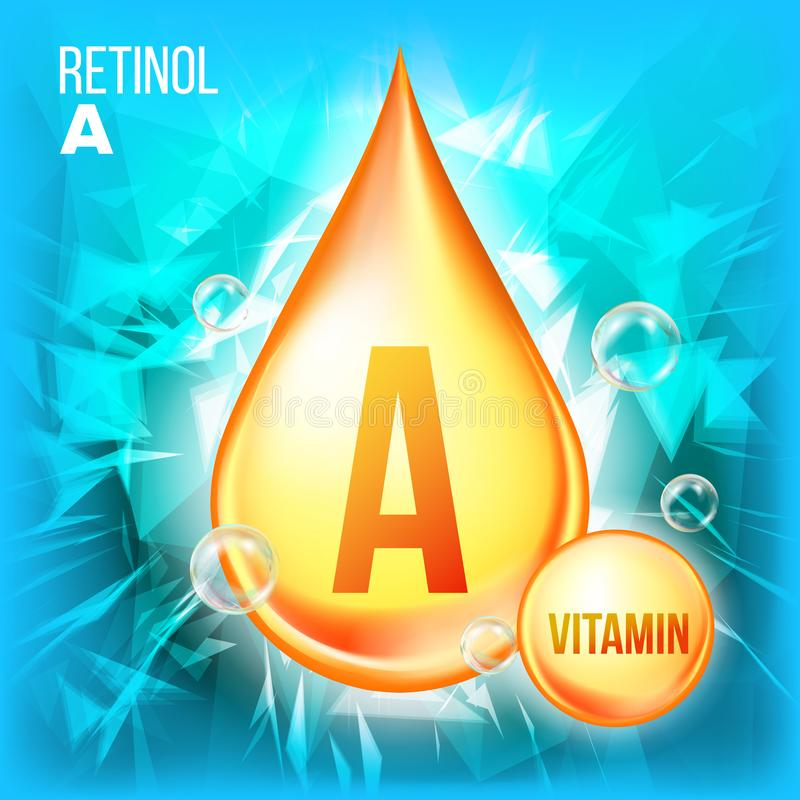 Vitamin en Retinolvektor Symbol för droppe för vitaminguldolja Organisk guld- liten droppesymbol flytande För skönhet skönhetsmed stock illustrationer