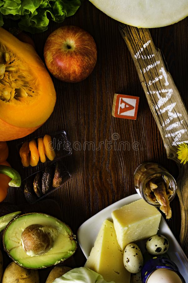 Vitamin A in food, Natural products rich in vitamin A as pepper, pumpkin, apple, potato, cabbage, avocado,dried apricots, melon, c. Health food with fruit stock photos